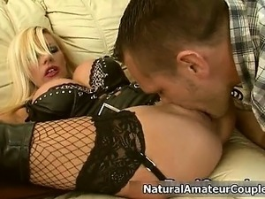 Busty blonde slut gets horny sucking part5