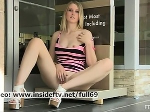 Summer _ Amateur blonde flashing her boobs and playing with herself in public