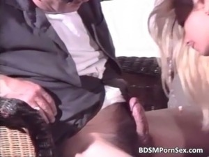 Attractive blonde bimbo sucks big white free