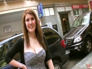 Big tits on street