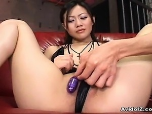 Horny Asian babe gets serious toy ramming!