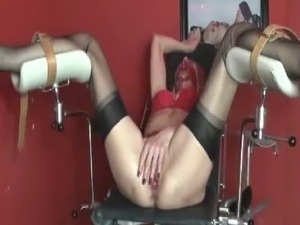 Extreme amateur slave in bondage has her pussy fisted till she cums hard then...
