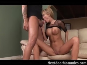 Big breasted blonde milf  rides cock free