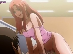 Redhead anime chick with huge tits