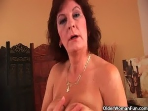 Grandma with big tits and hairy pussy gets facial free