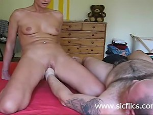 Horny amateur housewife riding her husbands huge fist till she orgasms
