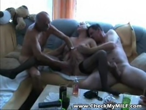 Old granny MILF sucking two cocks at gangbang party free