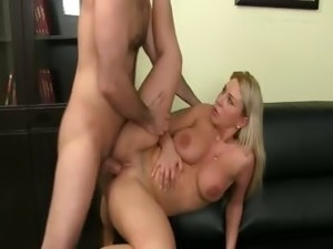 TAtto blonde chick fucking on ottoman