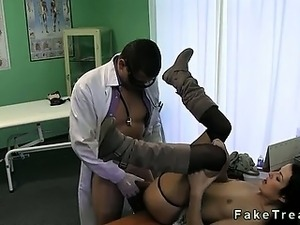 Doctor fucks his patient on a desk in office