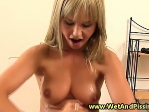 Busty blonde piss fetish hottie solo fun