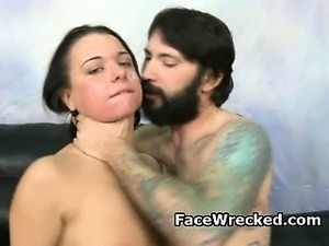 Street Wise Brunette From New York Gets Her Face Wrecked