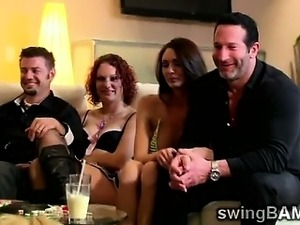 swingers cum eating party video