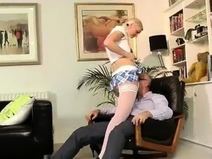 Young blonde slut in stockings for older British dude