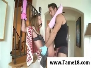 younggirl gives tied guy forced handjob