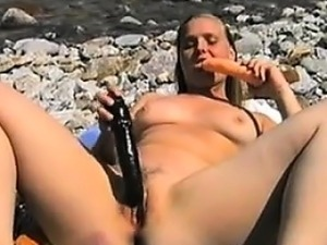 Naughty Girl Masturbating At The Beach
