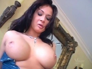 Brunette slut with amazing tits adores cum in her ass