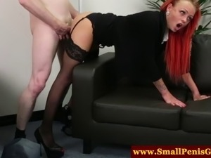 Dom mistress gives a sympathy fuck to his microscopic cock