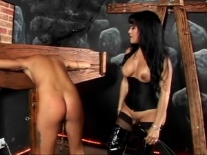 blonde pussy pain leather
