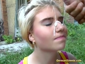 blonde teen bukkake