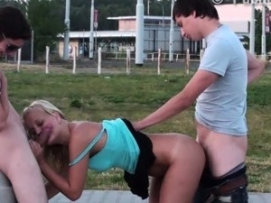 Extreme PUBLIC teen gang bang in the street PART 2