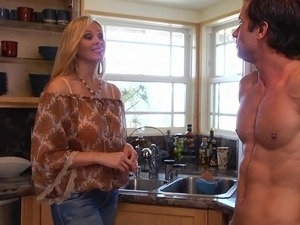 blonde sex in kitchen