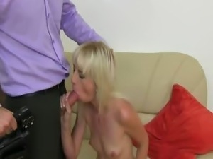 Skinny blondie penetrate on fake casting