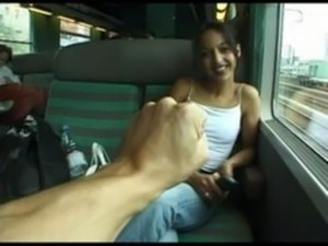 Girl masturbating on train