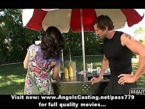 Amateur amazing sexy brunette babe selling pretzels in the parck