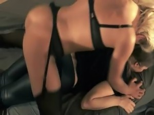 blackhair babe gets fucked with strap on