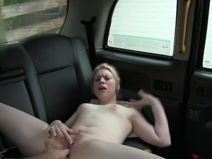 Pretty amateur blonde passenger drilled by fraud driver