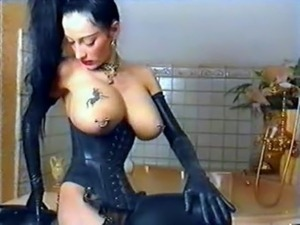 black leather tight pussy tits