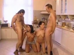 Nude girls in kitchen