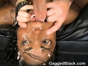 Dirty Black Girl Spits Up During Interracial Face Fuck