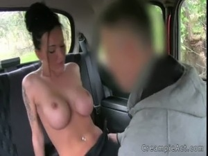 Hot busty amateur gets creampie in fake taxi free