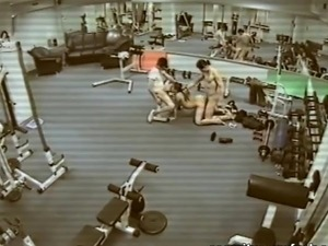 First hot lesbian sexy kiss at the gym