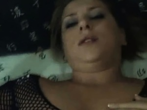 young blonde fingering herself