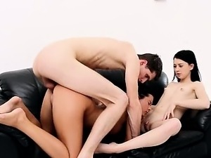 Another threesome FFM story on the couch