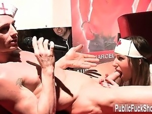 Public blowjob by a hot nurse on stage part3