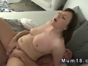 Natural big tits brunette mature lady giving blowjob on huge dick of...