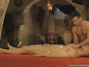 oiled black muscular nipples pec massage