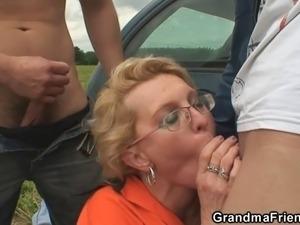 Big tits outdoors