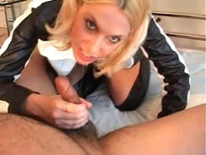 handjob in black leather gloves