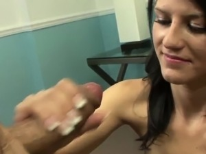 Teen amateur jerking cock before cumshot