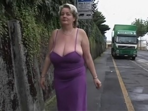 Huge boobs in public