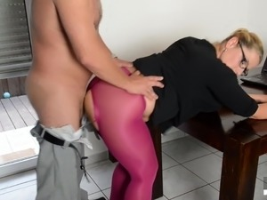 sexy mature blonde in nylons