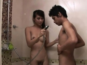 Soapy Shemale Spunky Massage