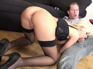 stockings cum feet anal blowjob