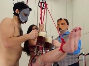 sweet violently banged bdsm babe with ropes