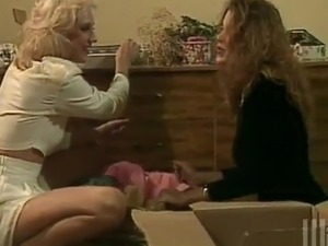 lesbian blonde and brunette girl strapon
