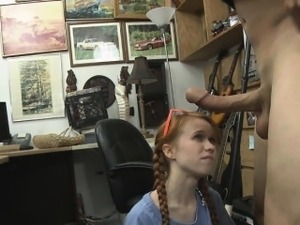 Pretty Red Haired Teen Dolly Little Blowjob In Office